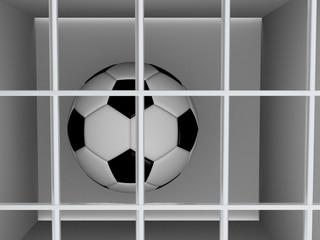 Football or soccer ball behind the bars