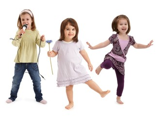 Little girls dancing having fun