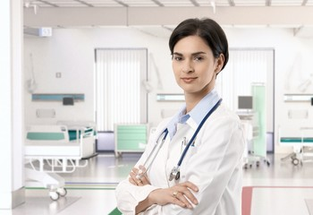 Attractive caucasian female doctor at hospital
