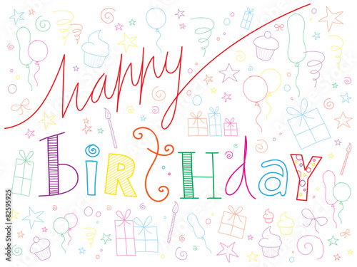 Happy Birthday Doodle Text With Party Symbols Stock Image And
