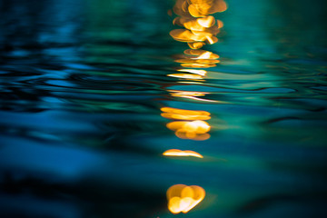 Sunset reflection on aquatic water