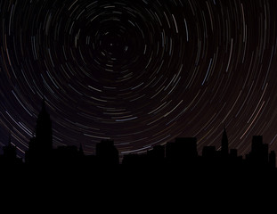 Manhattan skyline silhouette with star trails illustration