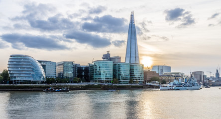 London Cityscape and Shard at sunset HDR