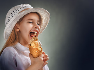 eating ice cream