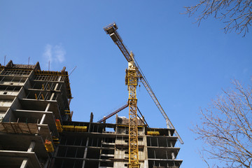 House and building crane