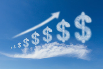 Growth business, cloud dollar sign grow up on blue sky