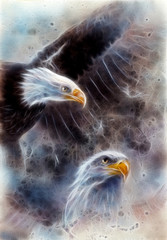 beautiful painting of two eagles on an abstract background fract