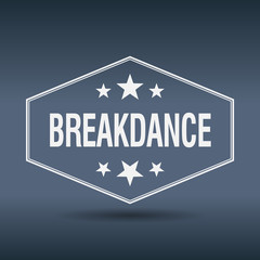 breakdance hexagonal white vintage retro style label