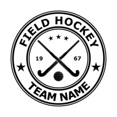 Black badge emblem design field hockey. Vector illustration