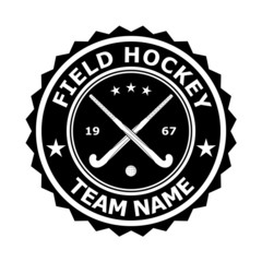 Black badge emblem desizhn for the team field hockey. Vector ill