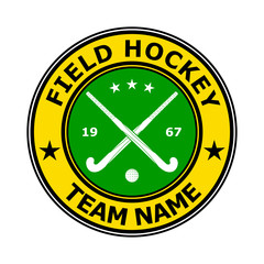 Color badge emblem design field hockey. Vector illustration