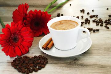 Coffee and beautiful flowers