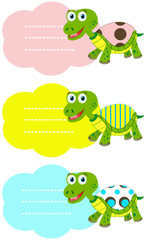 Vector illustrated blank labels with Cute turtles.
