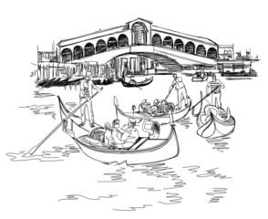 Obraz Venice - Grand Canal. View of the Rialto Bridge - fototapety do salonu