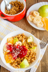 Fruit salad with wheat sprouts