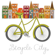 Bicycle city vector illustration