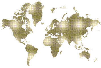world map made out of coins