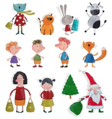 Set of cartoon characters