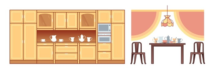 Orthographic pictograms of furniture for living-room and office