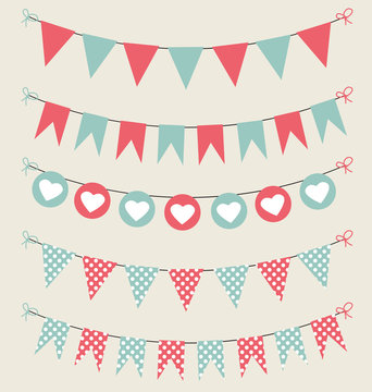 Cute bunting set baby pastel red and green