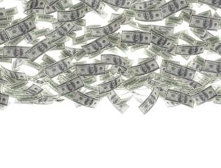Falling money on white