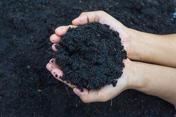 hands holding soil for plant