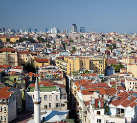 The view of residental  houses in Galata region of Istanbul.