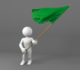 Character holding Libya flag 3d illustration