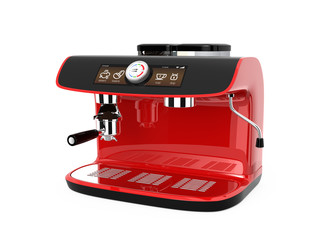 Red espresso coffee machine with clipping path.