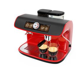 Stylish coffee machine brewing espresso in two glasses.