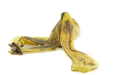 Buccia di banana isolata su sfondo bianco