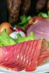 smoked ham with schwarzwald ham and prosciutto