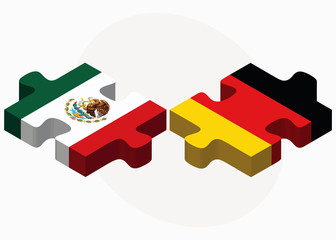 Mexico and Germany Flags in puzzle