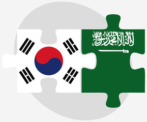 South Korea and Saudi Arabia Flags in puzzle