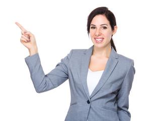 Businesswoman finger up