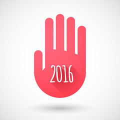 Red hand icon with a 2016 year sign