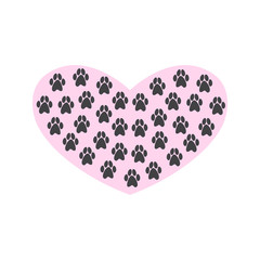 Heart with paw prints on white background