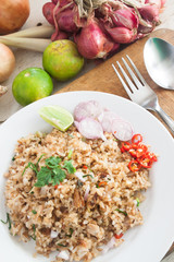 Fried rice with vegetables and ingredients, Thai cuisine