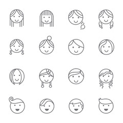 Hairstyles emotions line icons
