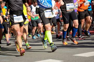Marathon running race, runners on road, sport concept