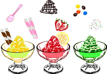 Many flavored shave ice with loads of toppings.