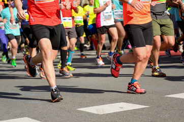 Marathon running race, runners on road, sport concept