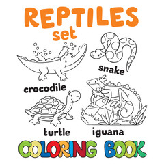 Set of funny reptilies coloring book