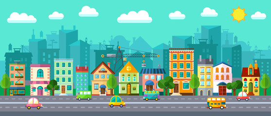 City Street in a Flat Design and Set of Urban Buildings Fototapete