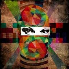 абстактнное изображение девушки в маске