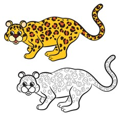 Outlined leopard vector illustration. Isolated on white.