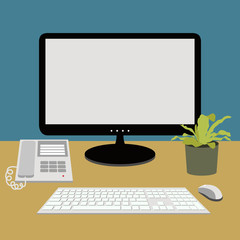 computer, telephone on working desk, vector