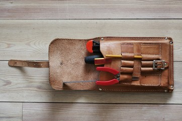 Leather bag with tools