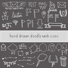 Hand drawn  doodle web  icons
