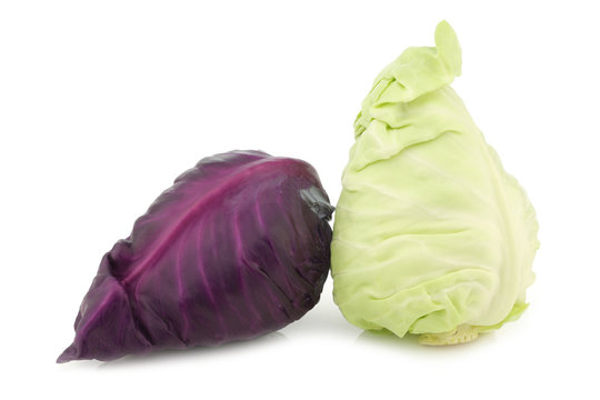 red and a green pointed cabbage on a white background